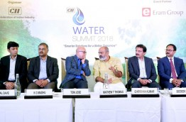 With Honorable Minister for water resources Mr. Mathew T Thomas and other dignitaries during CII Water Summit 2018. www.watersummit.in